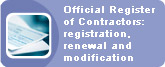Official Register of Contratactors: registration, renewal and modification